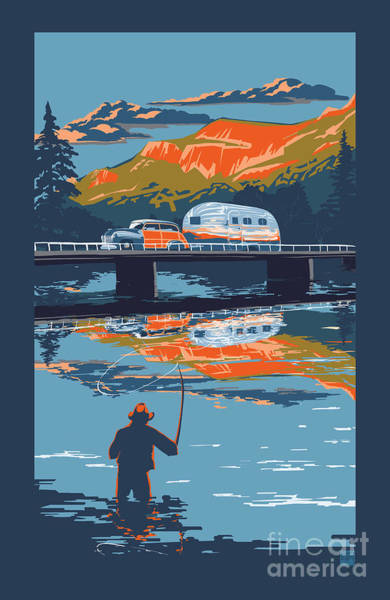 Enderby Cliffs Retro Airstream Poster