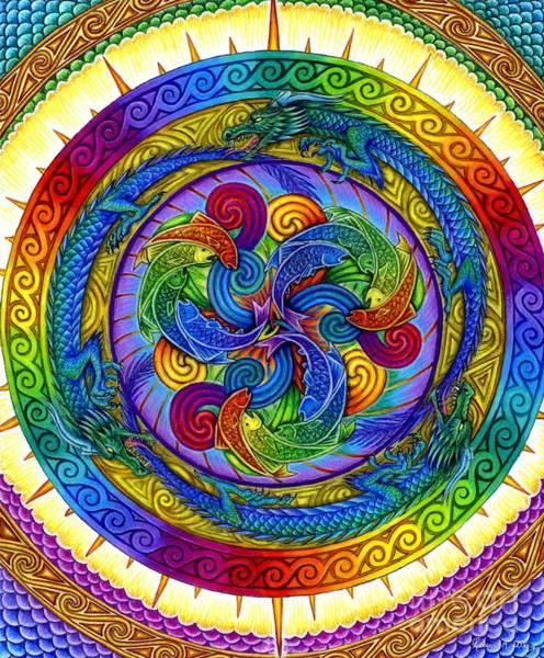 Psychedelic Dragons Rainbow Mandala Poster