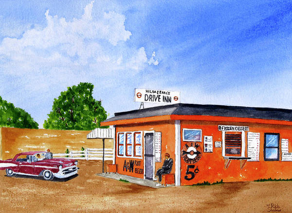 Poster featuring the painting Ericksons Drive Inn by Rich Stedman