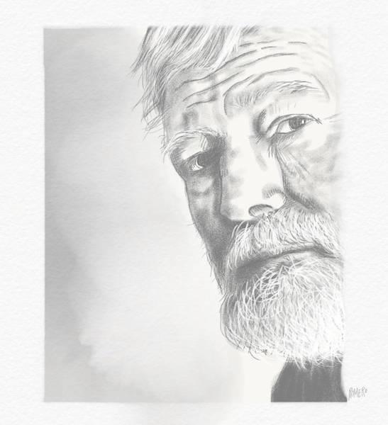 Poster featuring the digital art Ernest Hemingway by Antonio Romero