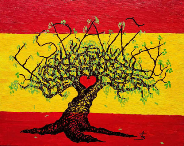 Poster featuring the drawing Espana Love Tree by Aaron Bombalicki