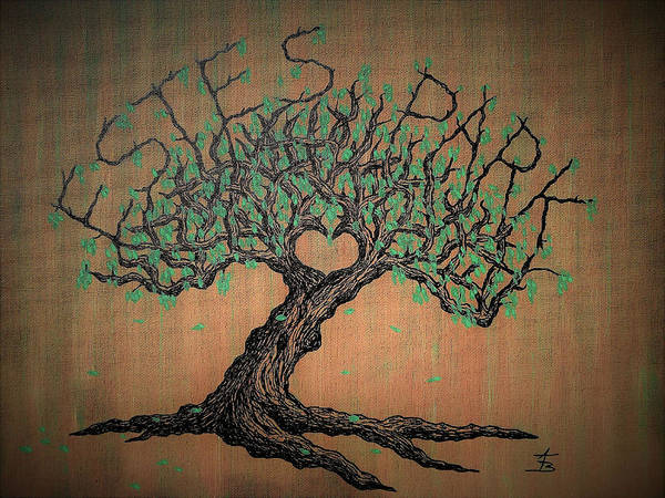 Poster featuring the drawing Estes Park Love Tree by Aaron Bombalicki