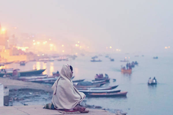 Evening At Varanasi, Varanasi, India Poster