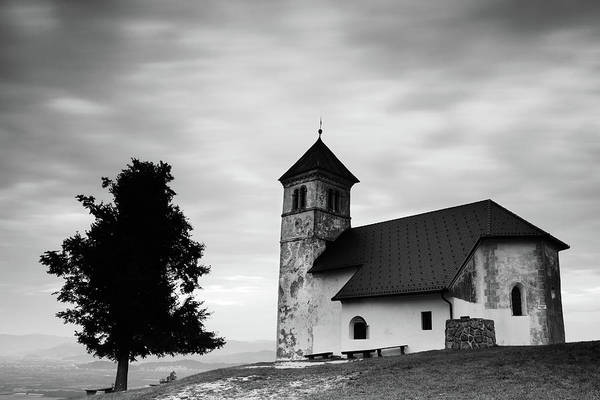 Evening Cloud Over Church Poster