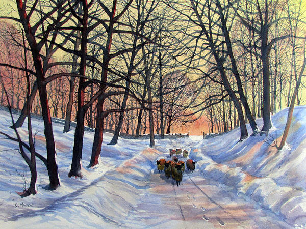 Evening Glow On A Winter Lane Poster