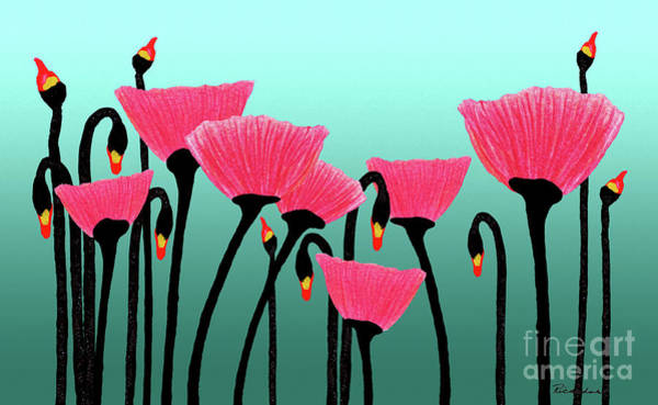 Expressive Red Pink Green Poppy Painting Y1a Poster