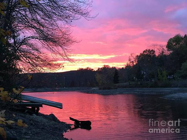 Fall Sunset On The Lake Poster