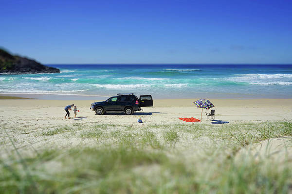 Family Day On Beach With 4wd Car  Poster