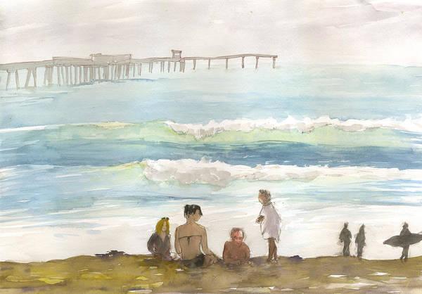 Family Enjoying The Beach Poster
