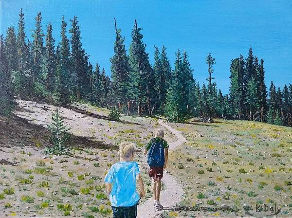 Poster featuring the painting Family Hike by Kevin Daly