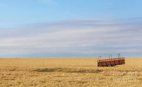 Farm Trailer In The Middle Of Field Poster
