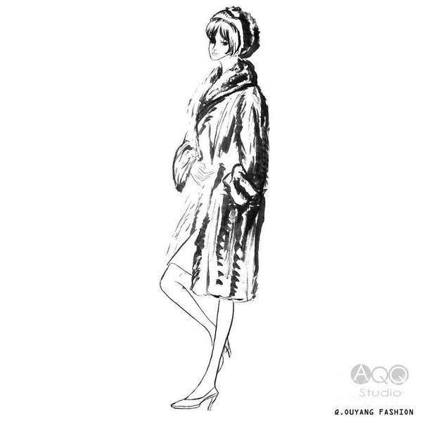 Fashion Girl In Fur Coat Poster