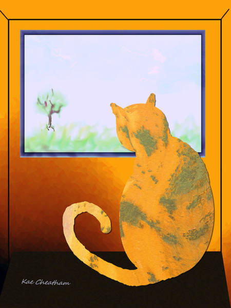 Fat Cat At Her Window Poster