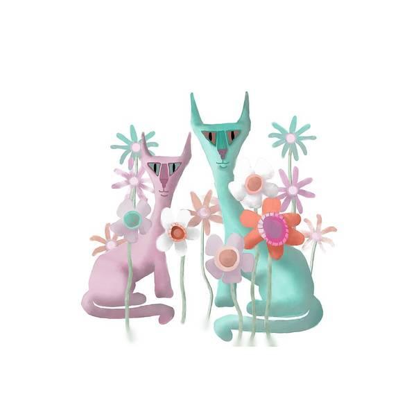Felines In Flowers Poster