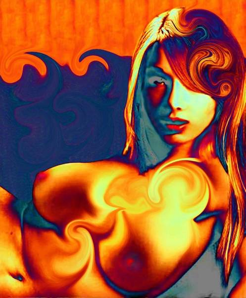 Female Contemporary Nude On A Wave Poster
