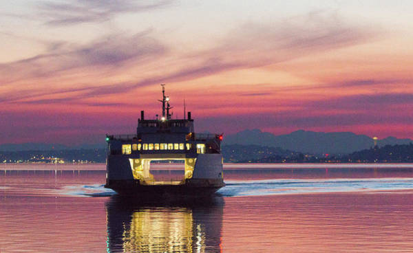 Ferry Issaquah Docking At Dawn Poster