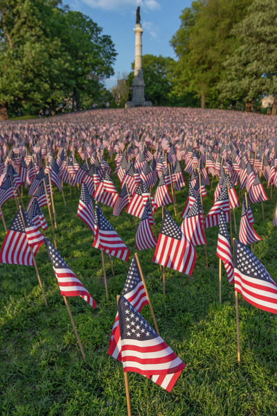 Field Of Flags At Boston's Soldiers And Sailors Monument Poster