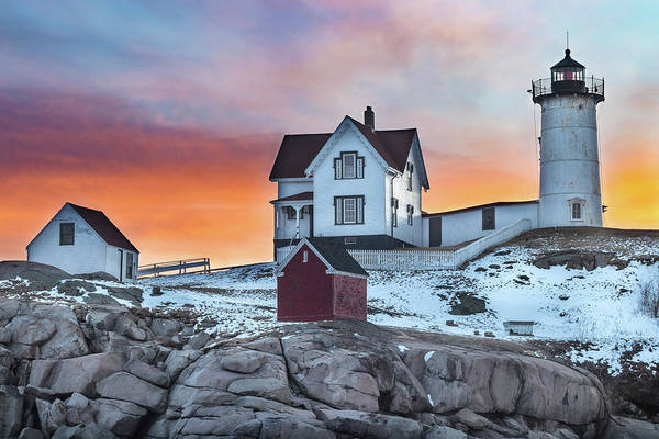 Fiery Sunrise At Cape Neddick Lighthouse Poster