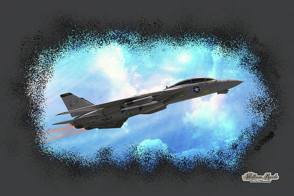 Poster featuring the photograph Fighter Jet F-14 In The Clouds by William Havle