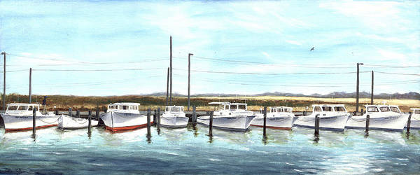 Poster featuring the painting Fine Art Workboats Kent Island Chesapeak Maryland Original Oil Painting by G Linsenmayer