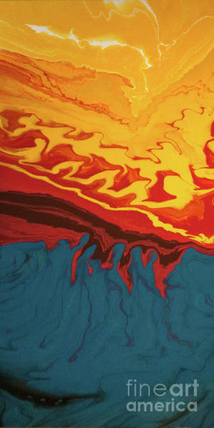 Poster featuring the digital art Fire Mountain by Lon Chaffin