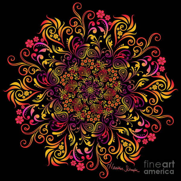 Fire Swirl Flower Poster