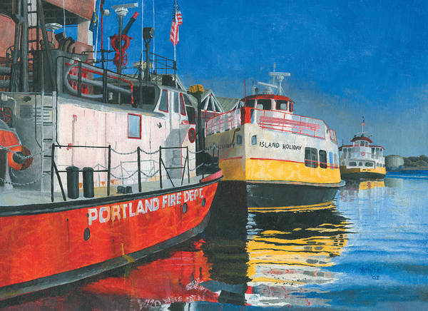 Poster featuring the painting Fireboat And Ferries by Dominic White