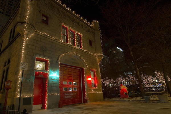 Firehouse In Xmas Lights Poster