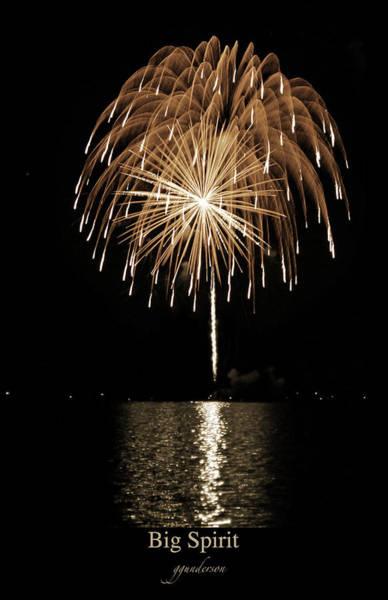 Fireworks At Big Spirit Lake Poster