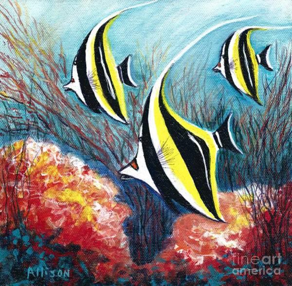Moorish Idol Fish And Coral Reef Poster