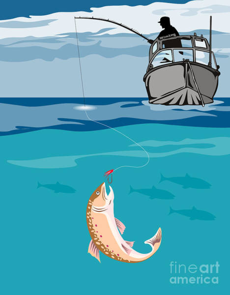 Fisherman On Boat Trout  Poster