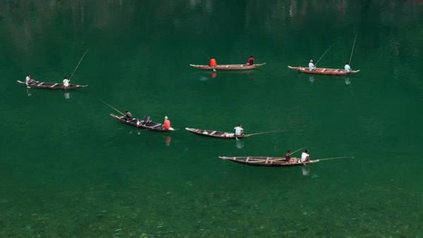 Fishermen At Dawki, Meghalaya, India Poster