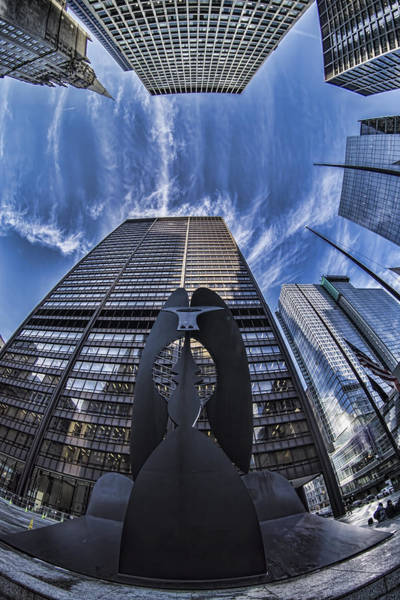 Fisheye View Of Chicago's Picasso Poster