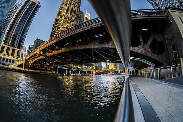 Fisheye View From The Chicago Riverwalk Poster