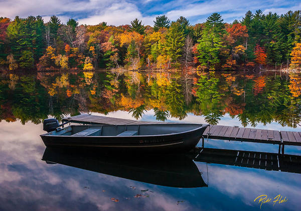 Fishing Boat On Mirror Lake Poster