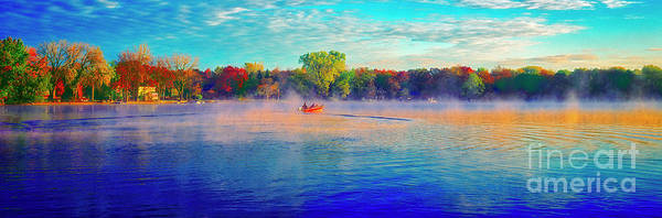 Fishing On Crystal Lake, Il., Sport, Fall Poster