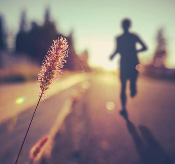 Fitness Training For Marathon At Sunset Poster