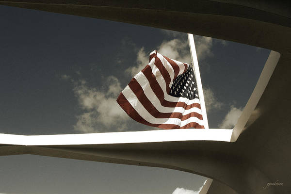 Flag At Half Mast Over Pearl Harbor Monument - Hawaii Poster