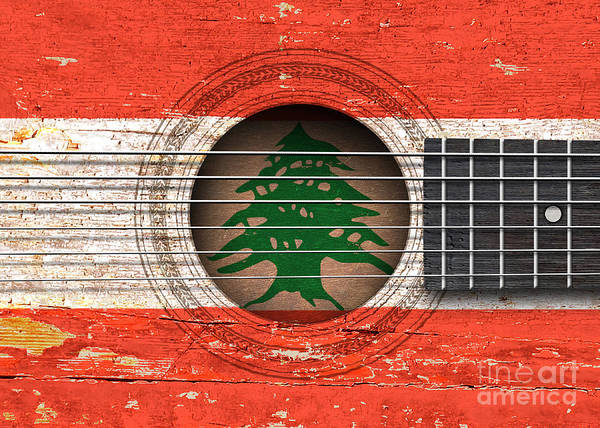 Flag Of Lebanon On An Old Vintage Acoustic Guitar Poster