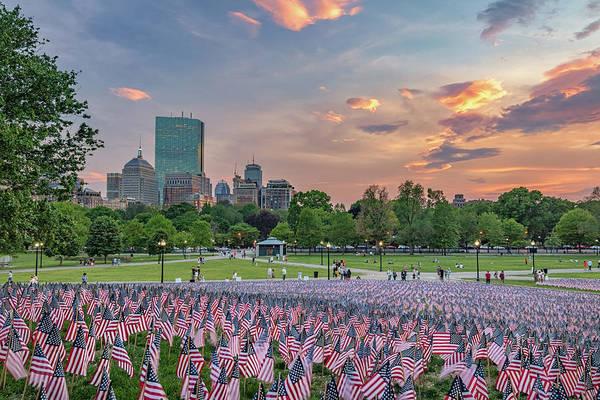Flag Sunset On Boston Common Poster