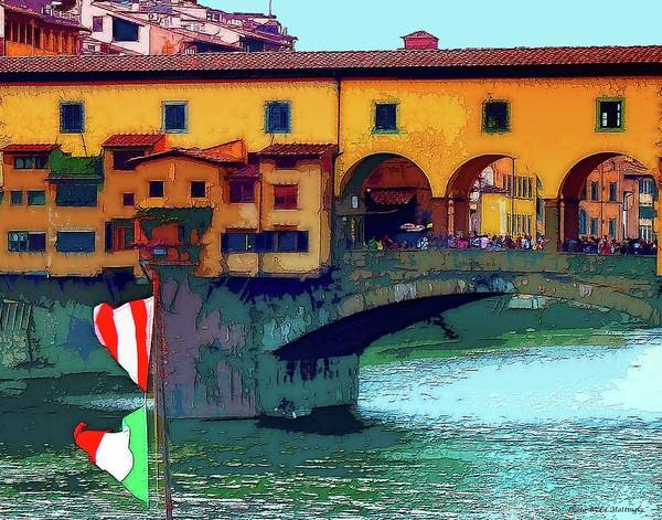 Flags At Ponte Vecchio Bridge Poster