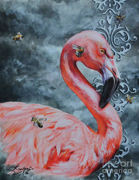 Flamingo And Bees Poster