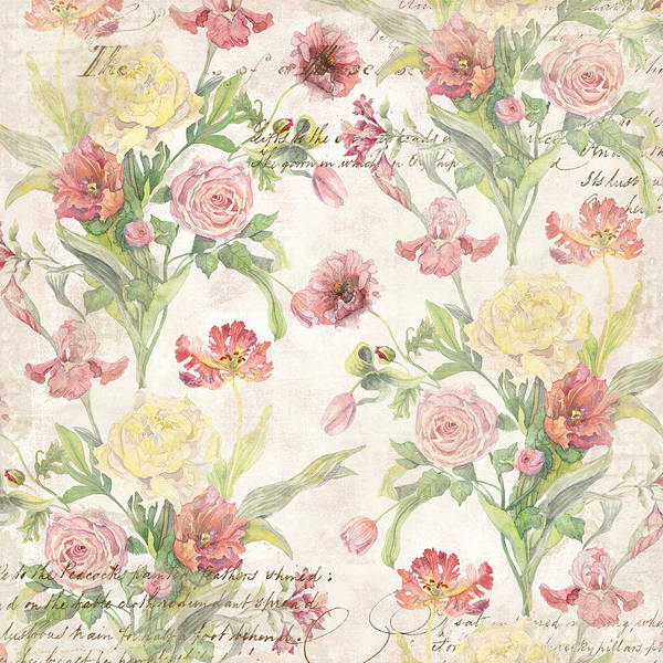 Fleurs De Pivoine - Watercolor In A French Vintage Wallpaper Style Poster