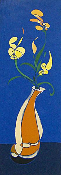 Floral On Blue Poster