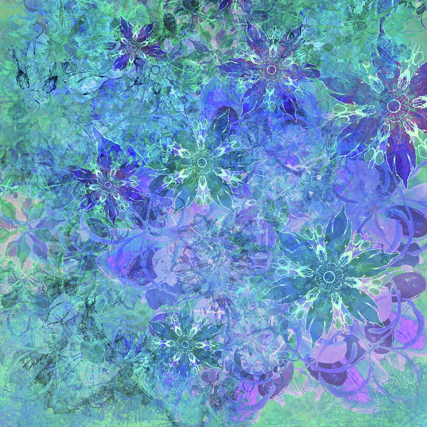 Floral Watercolor Blue Poster