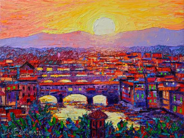 Florence Sunset Over Ponte Vecchio Abstract Impressionist Knife Oil Painting By Ana Maria Edulescu Poster