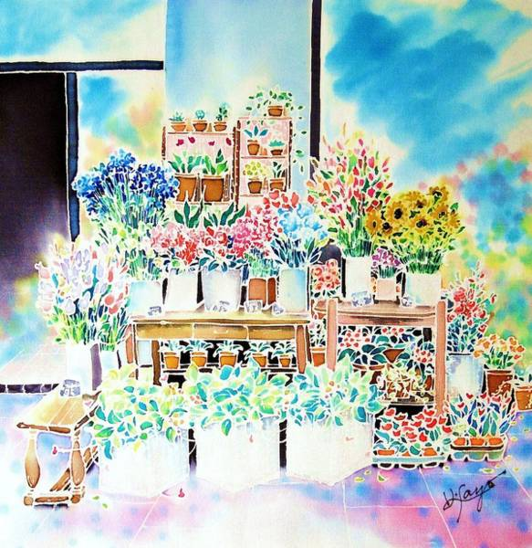 Poster featuring the painting Flower Shop In Paris by Hisayo Ohta