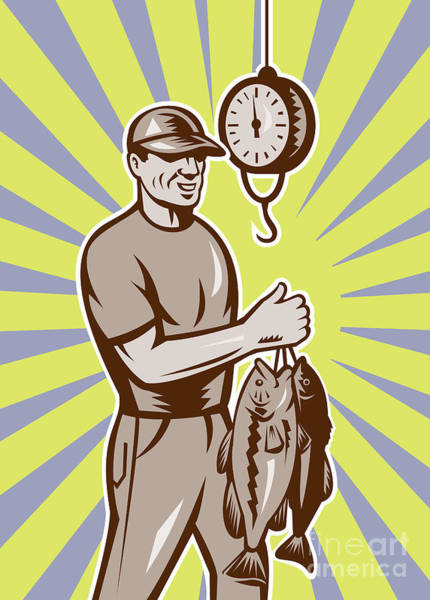 Fly Fisherman Weighing In Fish Catch  Poster