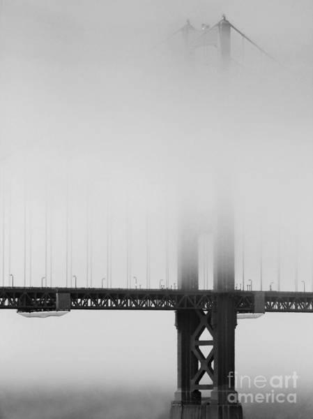 Fog At The Golden Gate Bridge 4 - Black And White Poster