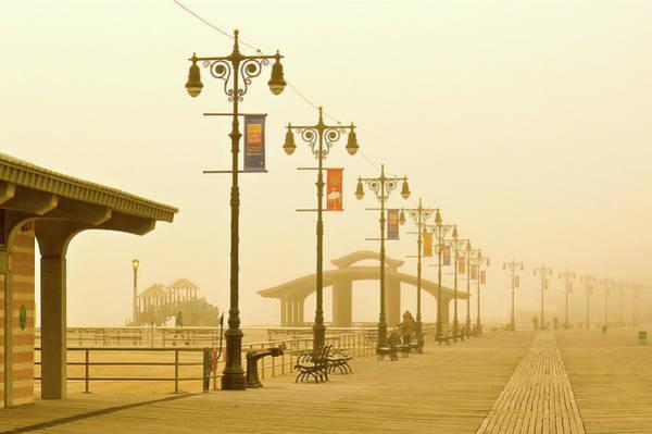Foggy Boardwalk Poster